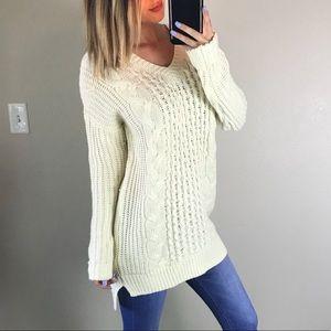 John + Jenn Cream Oversized Knit Sweater XS